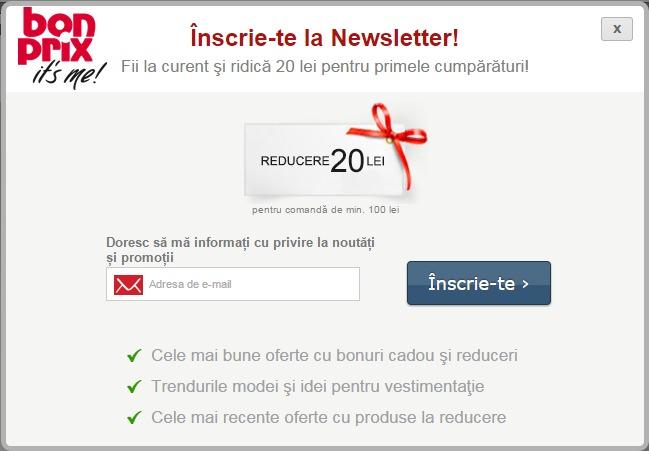Bonus inscriere newsletter bonprix Bonprix