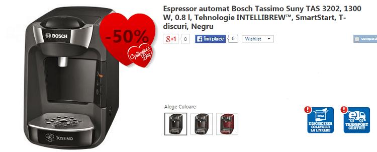 Oferta de Valentine's Day la espressor Bosch Tassimo eMAG