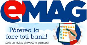 Un review la electrocasnice cumparate de la eMAG va poate aduce un card cadou de 500 de lei