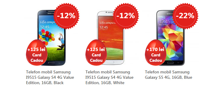Reduceri Samsung Galaxy S4 si Galaxy S5
