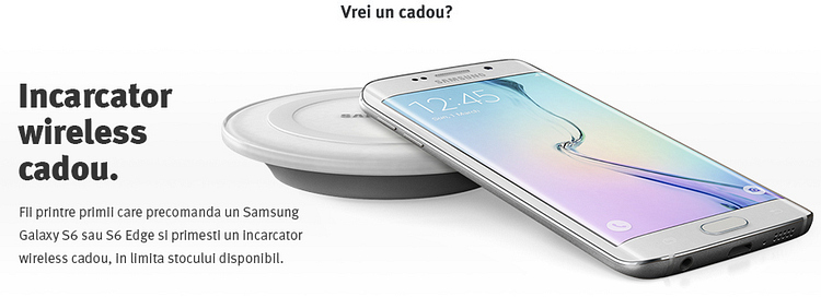 Incarcator wireless cadou Samsung Galaxy S6