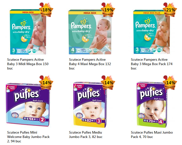 Promotii eMAG scutece Pampers Puffies