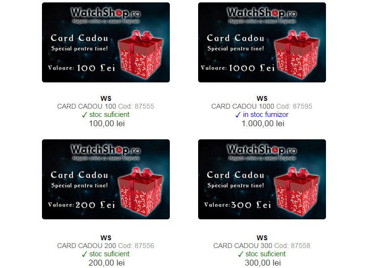 Carduri cadou WatchShop