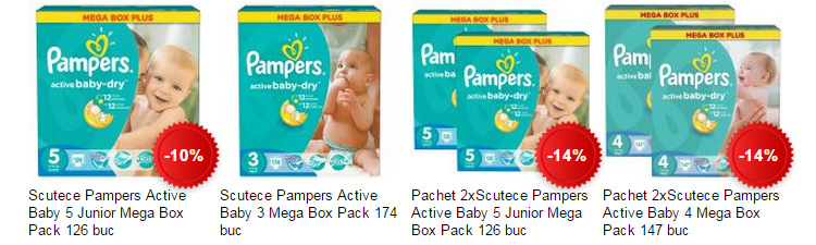Promotii eMAG scutece Pampers Active Baby