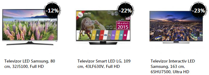 Oferta televizoare Stock Busters eMAG