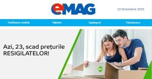 Azi scad preturile resigilatelor la eMAG