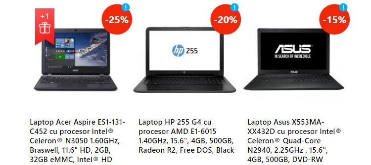 Laptopuri oferta sarbatori eMAG