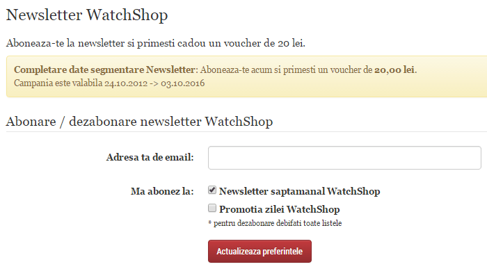 WatchShop newsletter