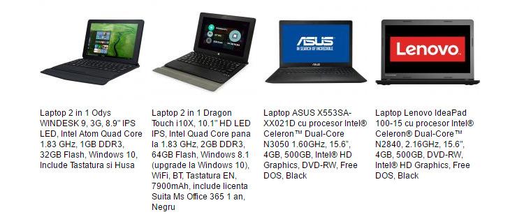 Laptopuri ieftine eMAG