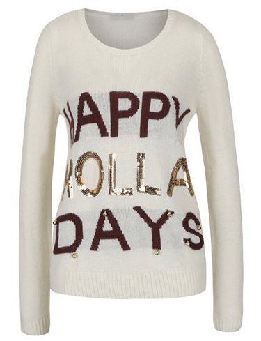 Bluza de Craciun Happy Holla Days crem