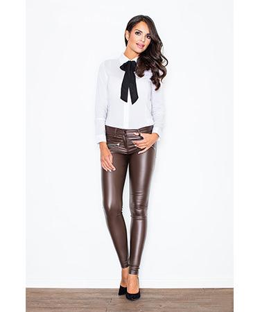 Pantaloni imitatie piele maro de la StarShinerS