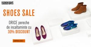 Reduceri la incaltaminte FashionDays de 30% prin Shoes Sale