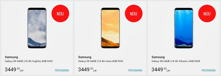 Oferte pentru Samsung Galaxy S8 si S8 Plus la Quick Mobile