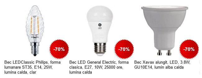 70% discount becuri LED eMAG