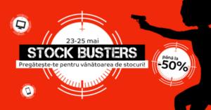 Stock Busters din 23 – 25 mai 2017 – 3 zile de reduceri de pana la 50% la eMAG