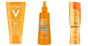 Gata de plaja cu oferta de creme cu protectie solara Vichy de la eMAG