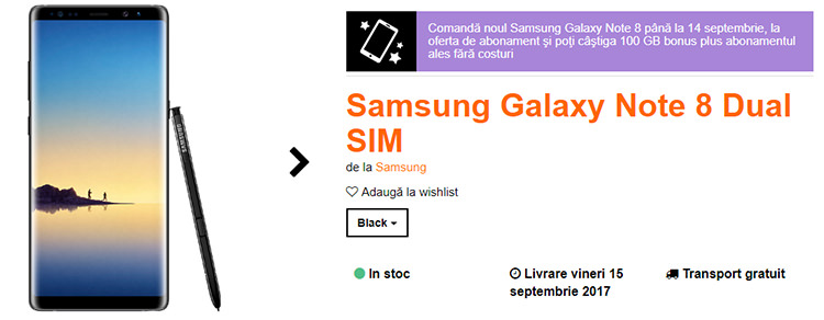 Precomanda Samsung Galaxy Note 8 Orange