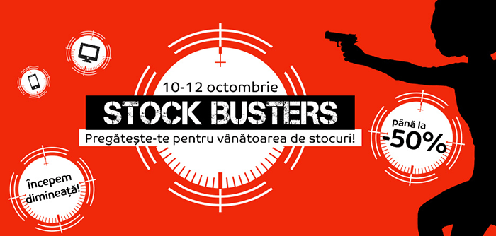 Stock Busters din 10-12 octombrie 2017 la eMAG