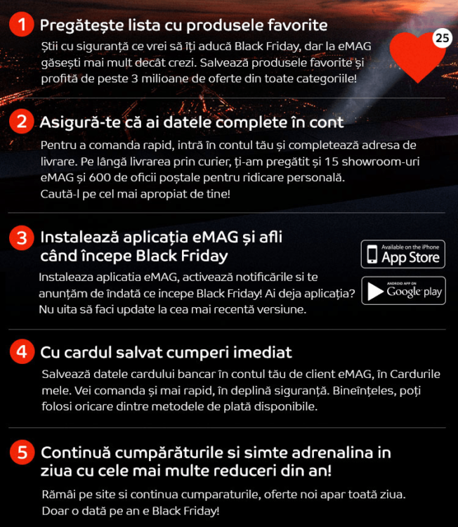 Pasi ghid Black Friday 2018 la eMAG