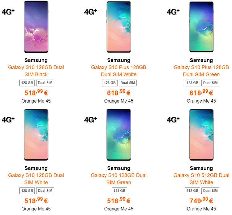 Samsung Galaxy S10, S10e și S10 Plus Orange