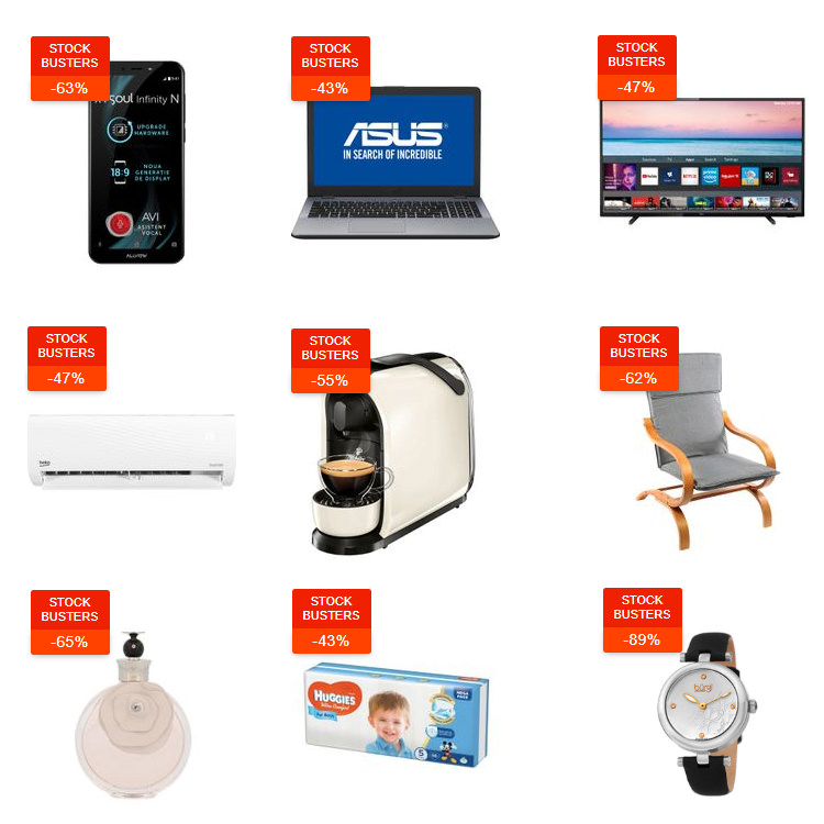 Reduceri Stock Busters din 20 - 22 august 2019 la eMAG