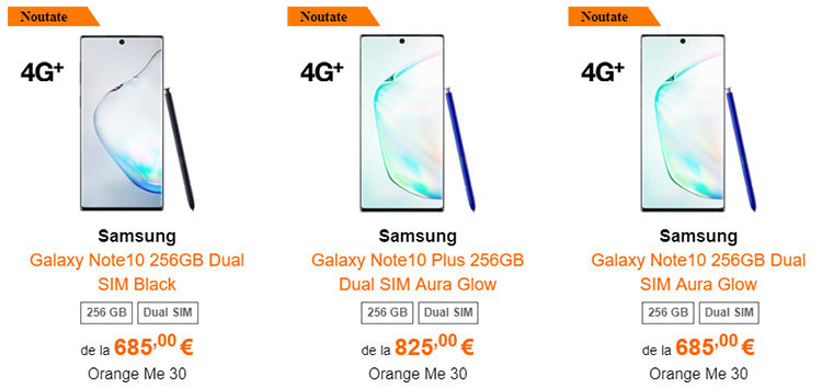Samsung Galaxy Note 10 și 10 Plus Orange