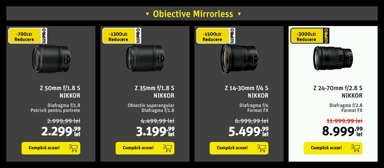 Oferta Yellowstore obiective mirrorless Black Friday PRO 2019